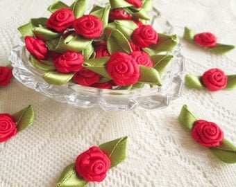 Red Rose with green leaf Ribbon red bow, red rose, 50 pcs. rose applique, fabric rose,  fabric bow, wedding, party, card decorate, party