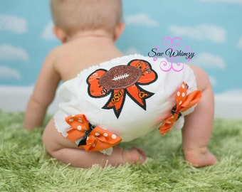 Football Bow Bloomers-Football Bloomers- Diaper cover- Team bloomers