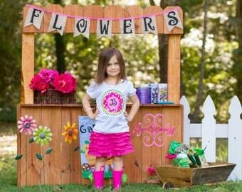 Flower initial shirt or bodysuit- girls flower shirt