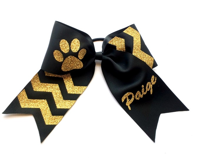 Monogram Cheer bow, Monogrammed Cheer Bows, Black, Gold, Cheer Bows, Monogram Hair Bows, Personalized Cheer Bows, Custom Cheer Bows