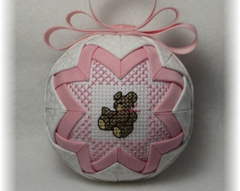 Quilted Ornament - Baby's 1st Christmas / Teddy Bear