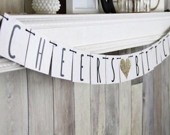Bachelorette Banner, Cheers Banner, Bachelorette Decor, Modern Wedding, Champagne