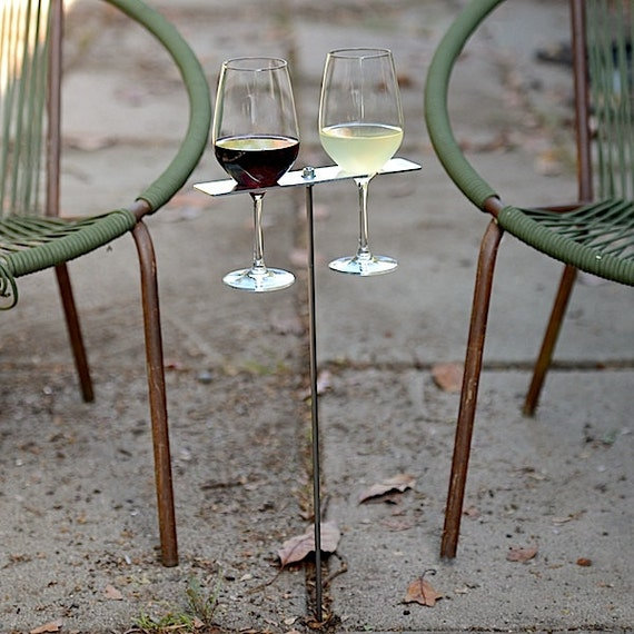 Personalized Boho Double Wine Glass Holder/ Mr. Mrs. Garden Wine Holder/ Aluminum 10th Anniversary Gift