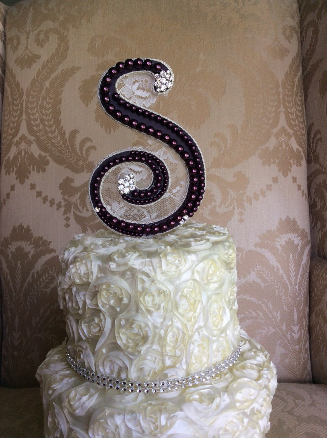 custom monogram wedding cake toppers with by TheCrystalFlower