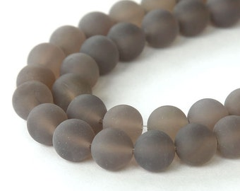Matte Agate Beads, Smoke Gray, 8mm Round - 15 inch strand - eGR-AGF04-8