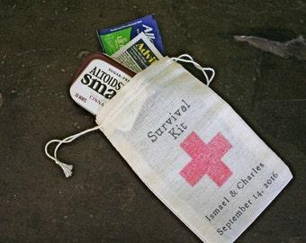 Personalized wedding favor bags, DIY Survival Kit bags, wedding favor, bachelor or bachelorette party, hotel welcome bags, cotton favor bag