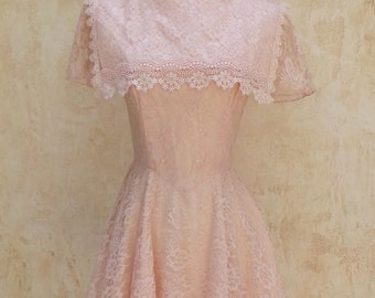 Vintage 80s - Mini Dress - Light Pink Lace - Womens Size XS - 1980s Dress