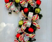 Candy Cane Wreath - Pine Wreath - Christmas Wreath - Deco Mesh Wreath - Candy Cane Shaped Wreath - Red White and Lime Green