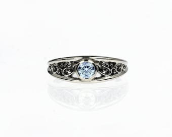 Aquamarine ring, white gold, filigree engagement ring, bezel, wedding ring, unique, aquamarine solitaire, lace ring, vintage style, unique