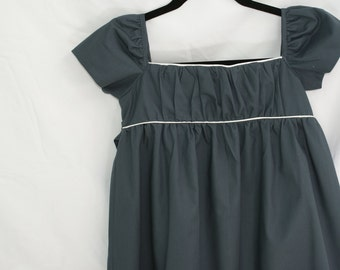 Girls Organic Cotton Grey with White Piping, Empire Waist Dress, Long SIZE S/M