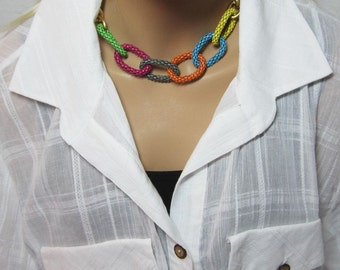Rainbow Multicolor Necklace Chunky Chain and Flexible Mesh Colorful Links Summer Necklace Beach Necklace