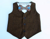 Boys Brown Tweed Vest, Brown Vest for Boy's, Baby Vest, Toddler Vest, Teen Vest, Wedding Ring Bearer, Vintage Wedding Vest