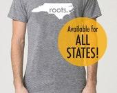 All States and Washington DC 'Roots.' Tri Blend Track T-Shirt - Unisex Tee Shirts Size XS S M L XL 2XL