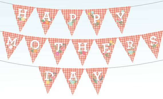 items similar to happy mothers day bunting banner printable red gingham spring flowers party. Black Bedroom Furniture Sets. Home Design Ideas