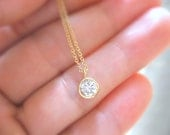 Dainty Gold Necklace Gold Solitaire Necklace Diamond Solitaire Necklace Layer Gold Necklace Gold Jewelry Dainty Jewelry Bridesmaids Necklace