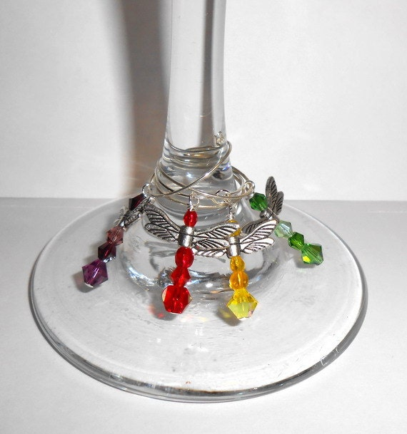 dragonfly wine glass charms pewter dragonfly by