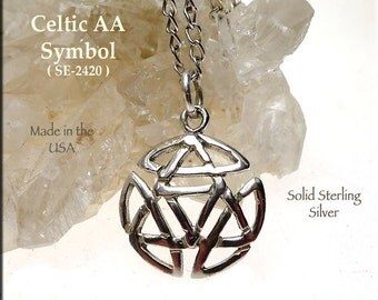 PRE-ORDER - Celtic Alcoholics Anonymous Necklace Sterling Silver Sobriety Symbol Charm Discrete AA Jewelry Celtic Recovery Necklace Pendant