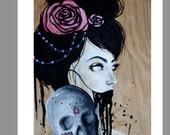 Printable print of original painting, wood panel background, skull painting, print, dia de los muertos, new mexican art, black hair, beads
