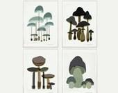 Mushrooms Print Set of 4 art prints mushroom nature poster - Art print by nicemiceforyou