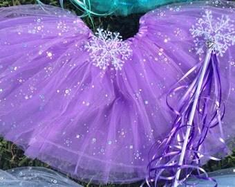 Frozen Party Favors, Frozen Tutu, Purple Tutu, Snowflake Wand, Frozen Party Favors, Purple Tutu, Party Favors, Purple Sparkle Tutu