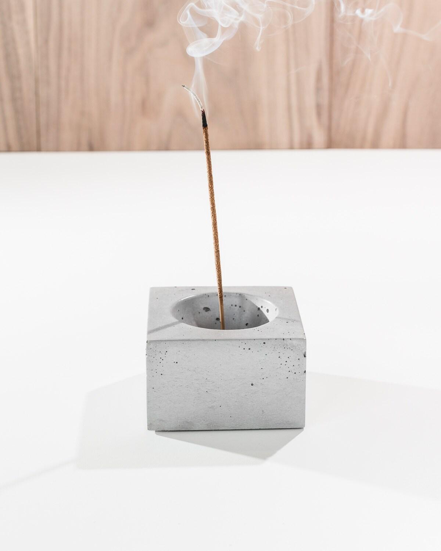 Onyx Incense Burner : Cubed white concrete square incense burner holder
