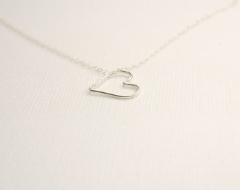 Sterling silver hanging heart necklace
