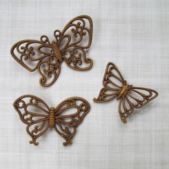 Rattan Butterfly Wall Art Set Of 3 Faux Wicker Brown Boho