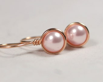 Rose Gold Pink Pearl Earrings Wire Wrapped Jewelry Handmade Rose Gold Pearl Earrings Rose Gold Jewelry Bridal Pearl Earrings Swarovski Pearl
