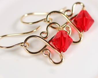 Gold Red Earrings Swarovski Crystal Earrings Wire Wrapped Jewelry Gold Earrings Gold Jewelry Swarovski Crystal Jewelry Bridal Earrings