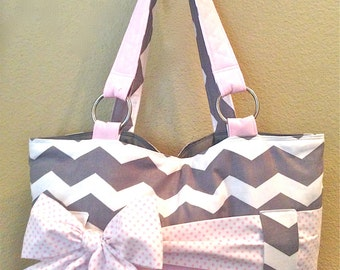 Grey & White Chevron With Light Pink Diaper Bag. Interchangeable Sash/Bow.  Chevron Print Can Be Substituted To Other Prints