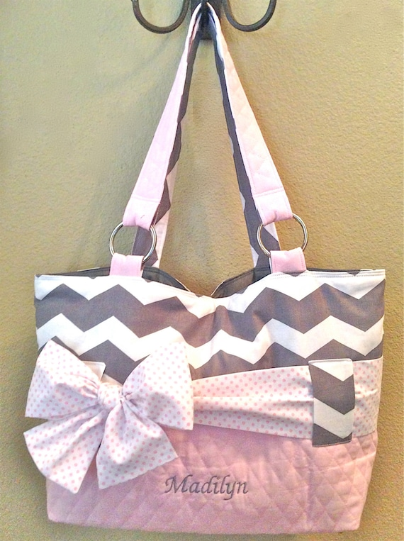 grey white chevron with light pink diaper bag. Black Bedroom Furniture Sets. Home Design Ideas