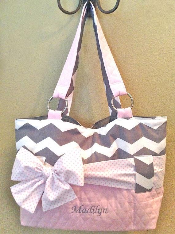 Grey Amp White Chevron With Light Pink Diaper Bag