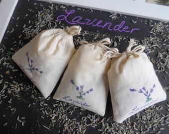 Lavender Sachets, Lavender Baby Shower Favors, Lavender Wedding Favors, Bridal Shower Favors, Hand Painted - Set of 25, 3 x 4