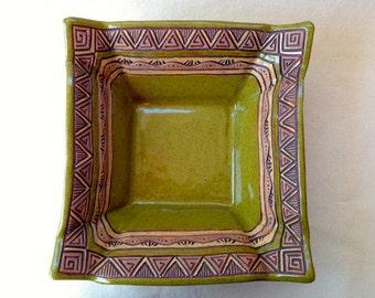Hand Built - Large Square Serving Bowl - Slab - Hand Carved Design - Highly Textured - Olive Green, Brown, Tan - Decorative Fruit Bowl