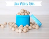 """16MM Wooden Beads - 50 Round Wooden Beads - 16MM Wooden Balls (5/8"""") - Unfinished Wooden Beads - 16mm Wood Balls in Muslin Bag - DIY Crafts"""