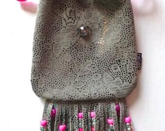 LoopyQ Silver  ~ BaRbiiE ~ Wedding Cake Metallic Neon Pink RainBoW KanDii Fringe Beaded Medicine Pouch with Diamond Gemstone