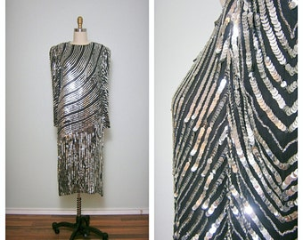 VTG Judith Ann Creations Dress / Mirror Silver Sequin Black Dress / Gatsby Drop Waist Dress