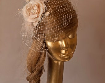 Champagne BIRDCAGE VEIL with Flower Fascinator Bridal Fascinator