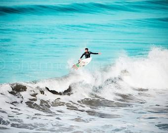 Surf Photo - Surfer Ocean - Blue Ocean Surf - Calm Surf Beach - Art Print - California Surf Print- Ocean Beach Art - Surf Photography - Blue