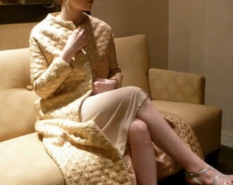 1960s Stavropoulos Evening Dress Coat RARE Gold Quilted Brocade Renaissance Jackie O