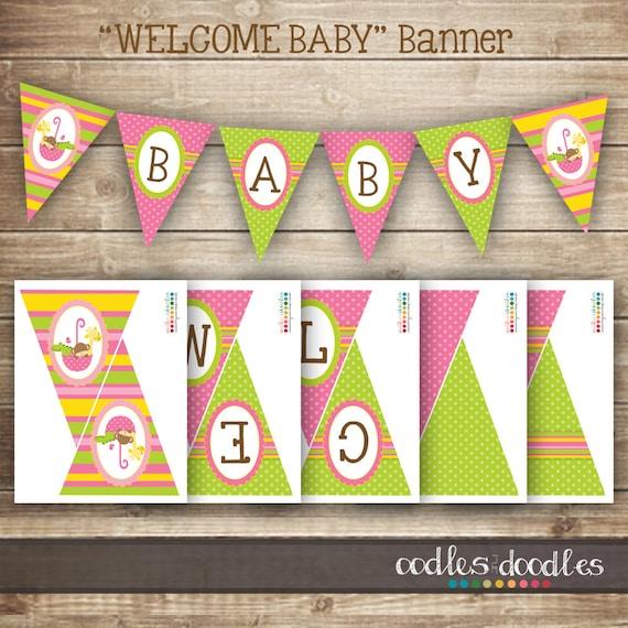 Baby Girl Pennant Banner/ Pink, Lime Green & Yellow Animal ...