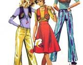 RETRO 70s Simplicity 9376 Vintage Sewing Pattern Button Fly Hip Hugger Pants, High Waist Flare Skirt Applique Bolero Kawaii Size 5/6 UNCUT