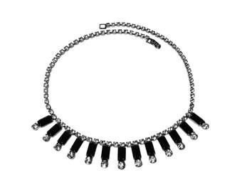 Vintage Black and White Rhinestone Necklace Choker