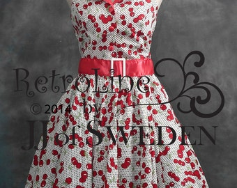 Cherry printed rockabilly dress. Designer dress, handmade 50's Retro inspired halterneck XL / XXL Plus sizes