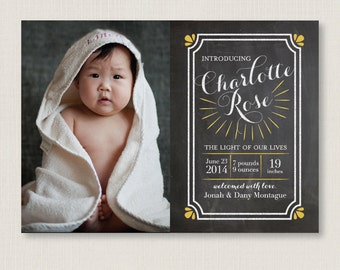 Custom Baby Birth Announcement Photo Card / For both baby girl and baby boy / Personalized Chalkboard Birth Announcement, modern and elegant