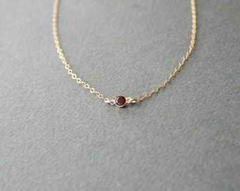 Gold Garnet Necklace - Personalized, Tiny, January, Birthstone, Gemstone, Classic, Simple, Jewelry, Birthday, Valentines Day, Gift for her,