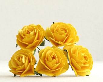 35mm Large Yellow Paper Roses (5pcs) - Mulberry paper flowers with wire stems - Great as wedding decoration and bouquet [143]