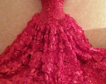 Sample Gown Listing Only / Red Rose Goddess Modified Middle Eastern Inspired Strapless Bridal Wedding Formal Ball Gown