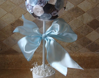 Baby Blue, white and Brown Its A Boy Paper Rose Flower Topiary  for Baby shower, baptism or Birthday Party