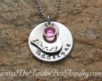 Personalized mothers necklace new mother new mom for one child newborn new baby adoption  Mother's day PC1BCX